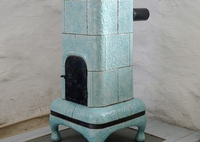 Turquoise tiled stove
